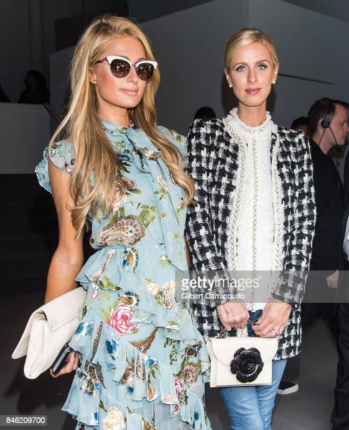 Paris Hilton and Nicky Hilton Rothschild are seen arriving at Alice Olivia By Stacey Bendet fashion show during September 2017 New York Fashion Week...