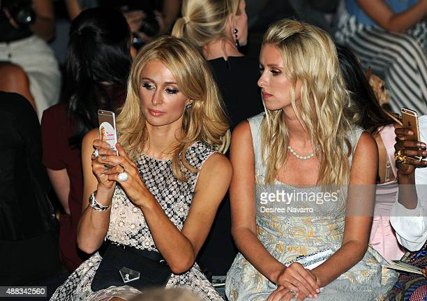 Paris Hilton and Nicky Hilton Rothschild attend Dennis Basso Front Row Backstage Spring 2016 New York Fashion Week The Shows at The Arc Skylight at...