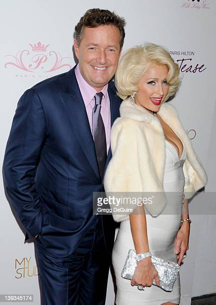 Paris Hilton and Piers Morgan arrive as Paris embodies icon Marilyn Monroe to celebrate the launch of her 10th fragrance 'Tease' at MyStudio...