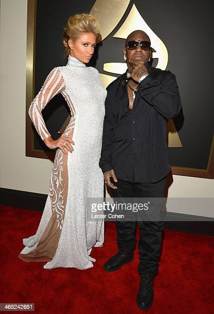Paris Hilton and rapper Birdman attends the 56th GRAMMY Awards at Staples Center on January 26 2014 in Los Angeles California