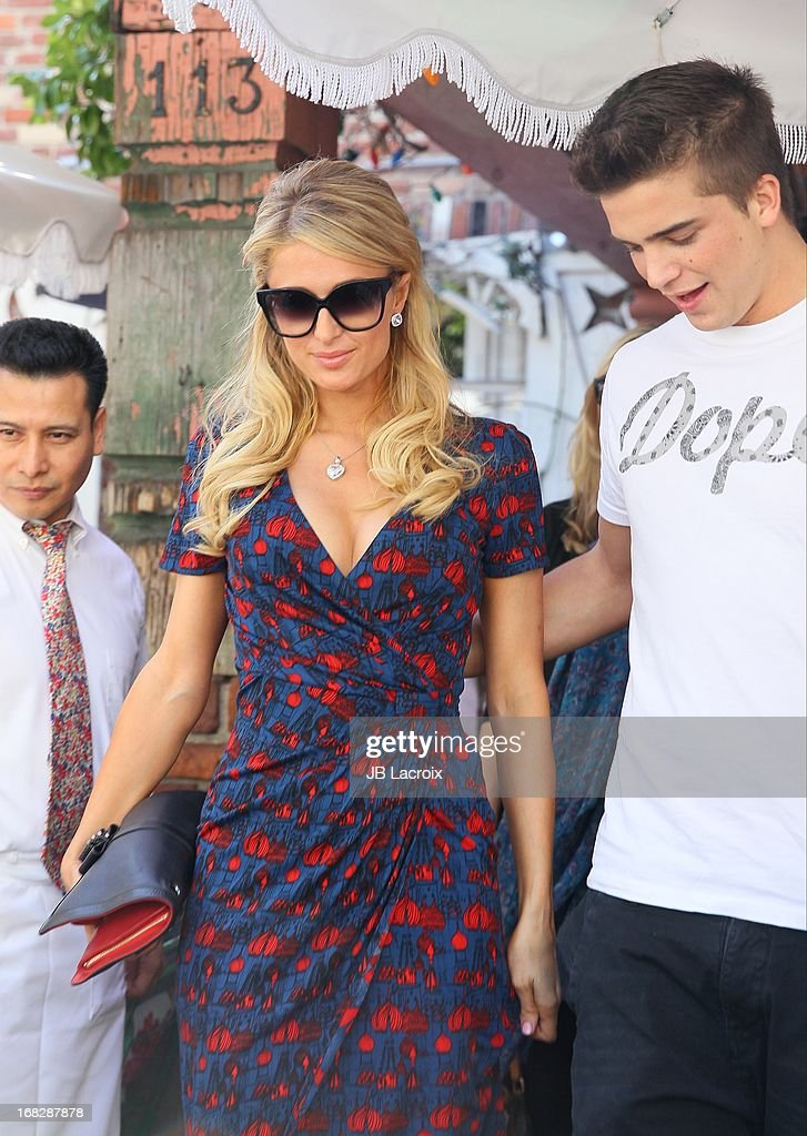 Paris Hilton and River Viiper are seen at The Ivy on May 7, 2013 in Los Angeles, California.