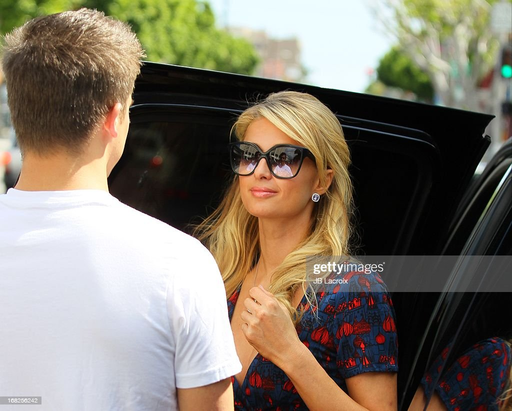 Paris Hilton (R) and River Viiper are seen on Robertson Blvd. on May 7, 2013 in Los Angeles, California.