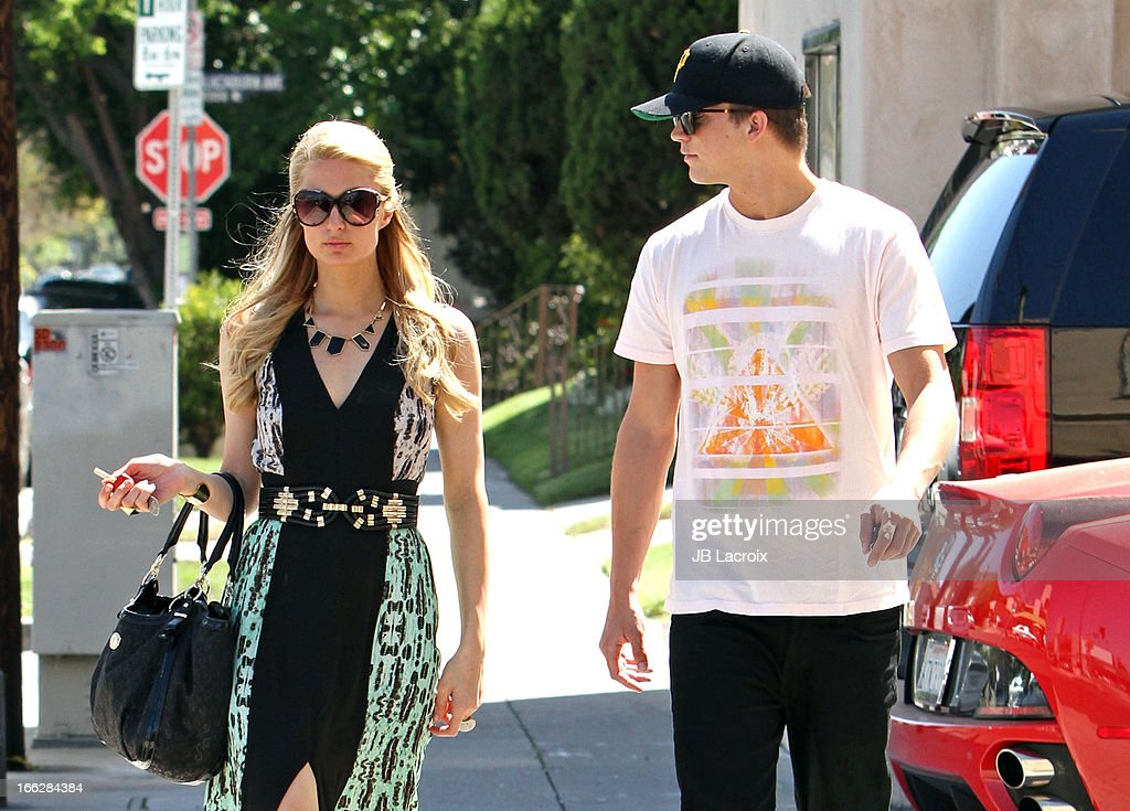 Paris Hilton and River Viiperi are seen on April 10, 2013 in Los Angeles, California.