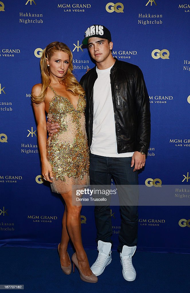 Paris Hilton and River Viiperi arrive at the grand opening of Hakkasan Nightclub at the MGM Grand on April 27, 2013 in Las Vegas, Nevada.