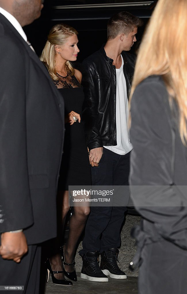 Paris Hilton and River Viiperi arrive at the Topshop Topman LA Opening Party at Cecconi's West Hollywood on February 13, 2013 in Los Angeles, California.