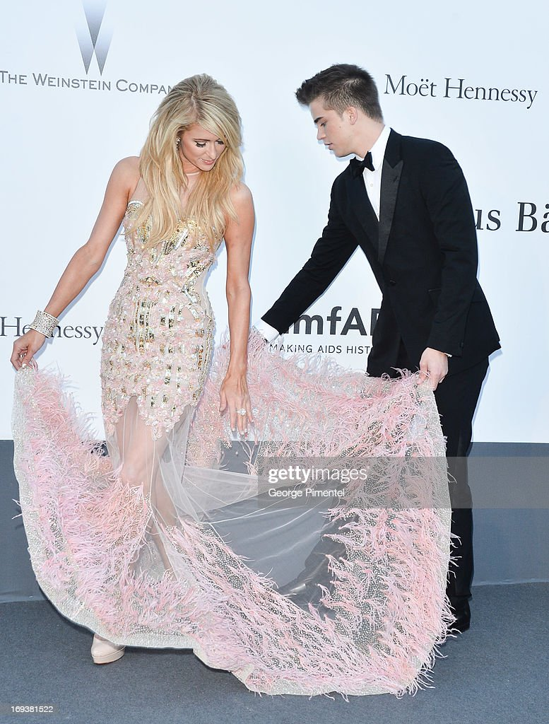 Paris Hilton and River Viiperi arrives at amfAR's 20th Annual Cinema Against AIDS at Hotel du Cap-Eden-Roc on May 23, 2013 in Cap d'Antibes, France.