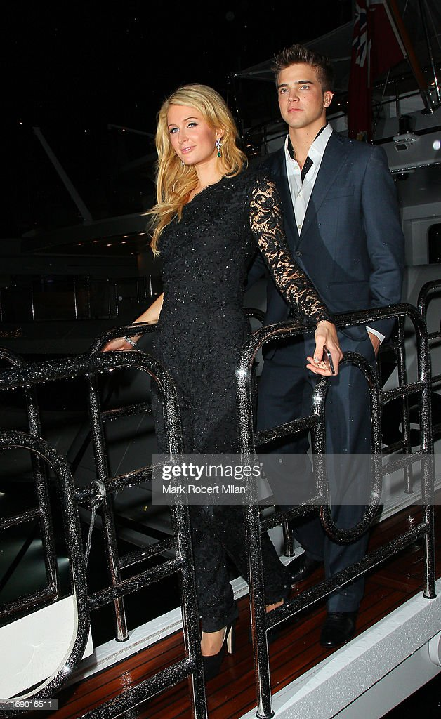 Paris Hilton and River Viiperi (R) sighting in the harbour at the 66th Annual Cannes Film Festival on May 18, 2013 in Cannes, France.