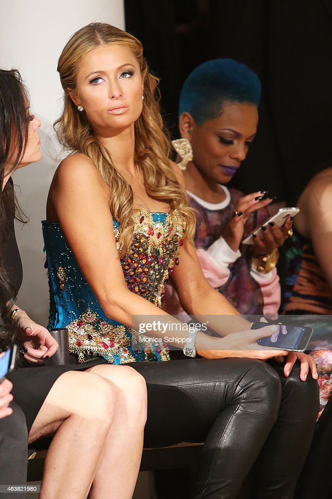 Paris Hilton (L) and Sharaya J attend The Blonds fashion show during MADE Fashion Week Fall 2015 at Milk Studios on February 18, 2015 in New York City.