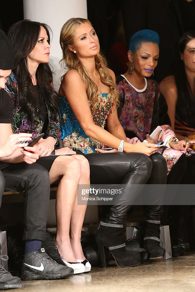 Paris Hilton (C) and Sharaya J (R) attend The Blonds fashion show during MADE Fashion Week Fall 2015 at Milk Studios on February 18, 2015 in New York City.