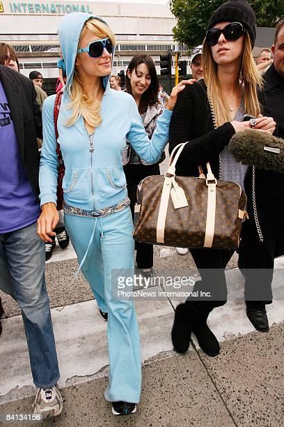 Paris Hilton and sister Nicky Hilton arrive at Melbourne International Airport on December 29 2008 in Melbourne Australia