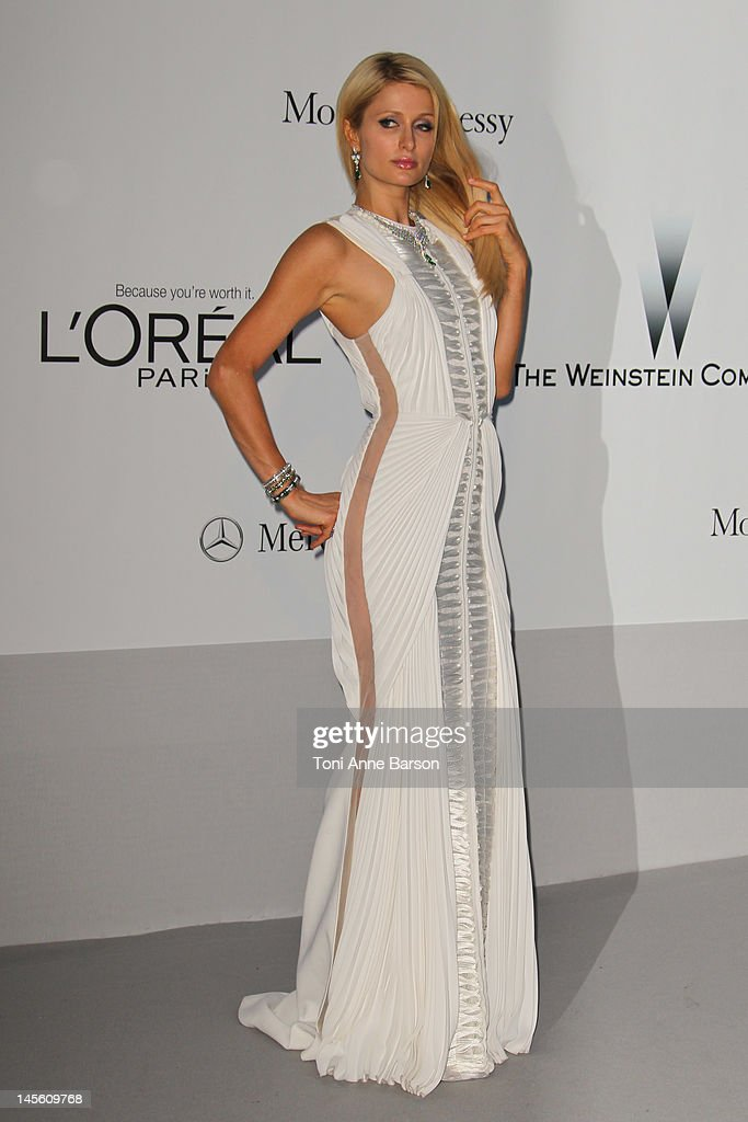 Paris Hilton arrives at amfAR's Cinema Against AIDS at Hotel Du Cap on May 24, 2012 in Antibes, France.