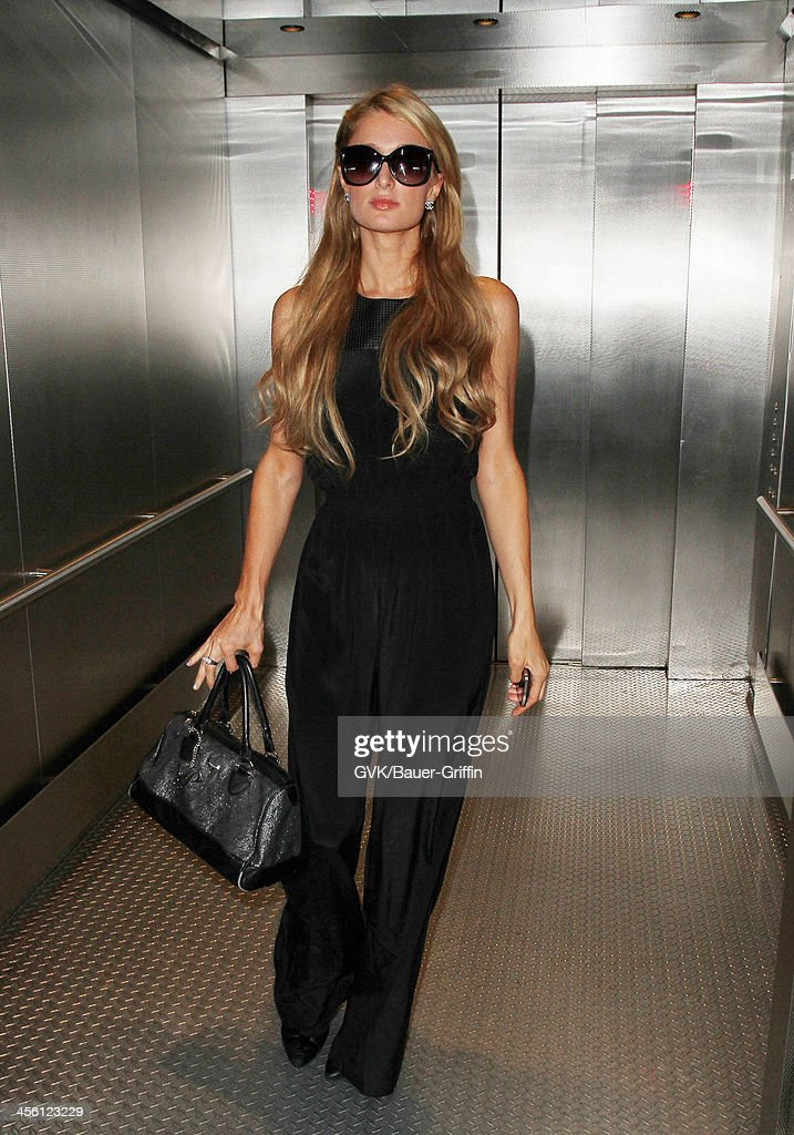 Paris Hilton arrives at LAX (Los Angeles International Airport). on September 29, 2013 in Los Angeles, California.