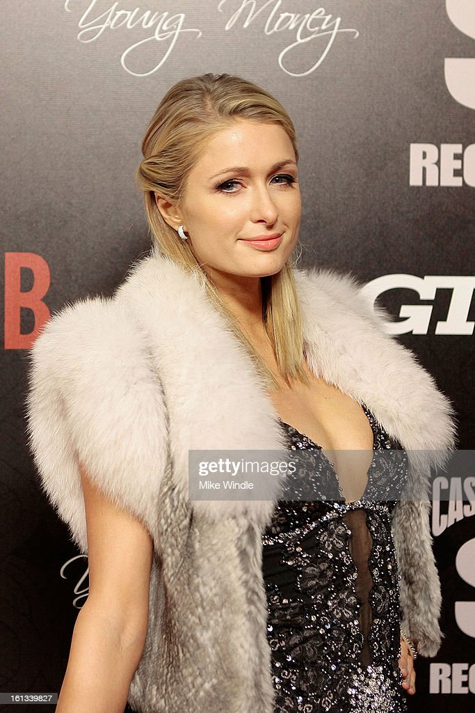 Paris Hilton arrives at the Cash Money Records 4th annual pre-GRAMMY Awards party on February 9, 2013 in West Hollywood, California.