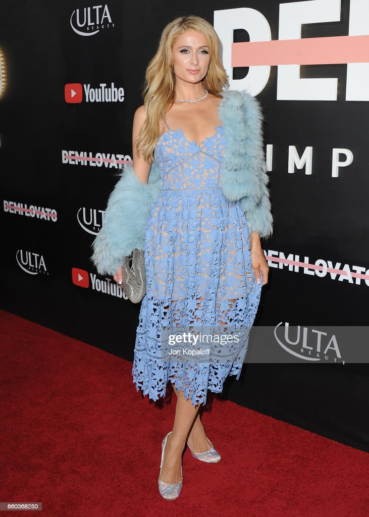 Paris Hilton arrives at the premiere of YouTube's 'Demi Lovato: Simply Complicated' on October 11, 2017 at the Fonda Theatre in Los Angeles, California.