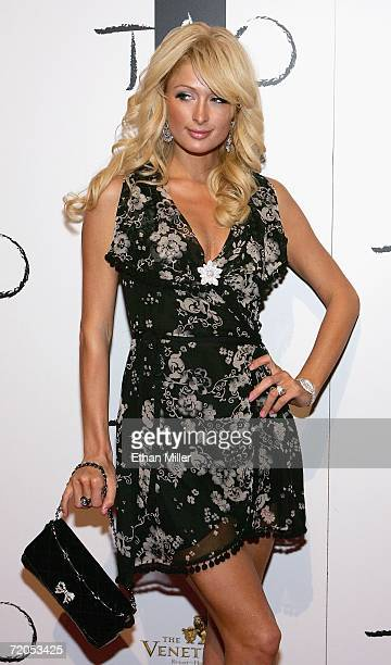 Paris Hilton arrives at the Tao Nightclub at the Venetian Resort Hotel Casino during the club's anniversary party on September 30 2006 in Las Vegas...