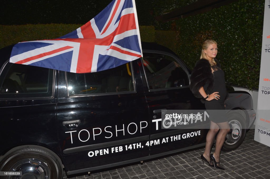 Paris Hilton arrives at the Topshop Topman LA Opening Party at Cecconi's West Hollywood on February 13, 2013 in Los Angeles, California.