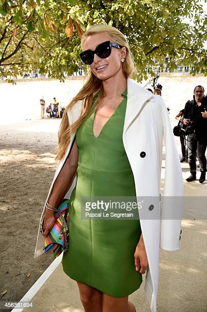 Paris Hilton arrives at the Valentino show as part of the Paris Fashion Week Womenswear Spring/Summer 2015 on September 30 2014 in Paris France