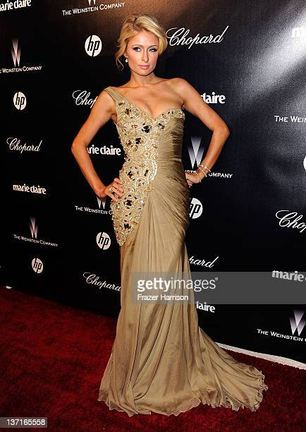 Paris Hilton arrives at The Weinstein Company's 2012 Golden Globe Awards After Party at The Beverly Hilton hotel on January 15 2012 in Beverly Hills...