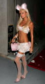 Paris Hilton arrives for the Halloween Mansion Party hosted by Haylie Duff on October 31 2005 in Hollywood Los Angeles California