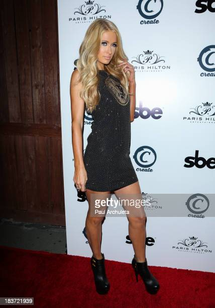 Paris Hilton arrives for the release party for her new single 'Good Time' featuring Lil Wayne at on October 8 2013 in Hollywood California