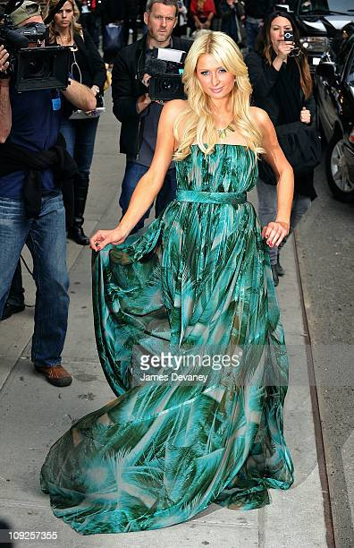 Paris Hilton arrives to the 'Late Show With David Letterman' at the Ed Sullivan Theater on February 17 2011 in New York City