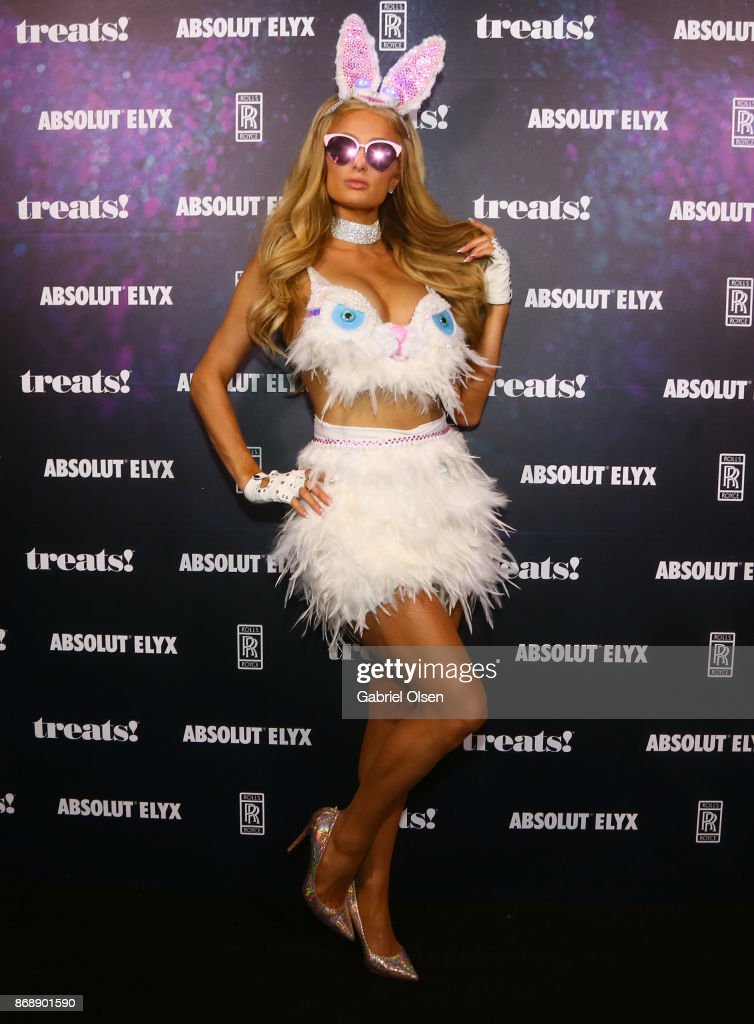 Paris Hilton at treats! Magazine's 7th Halloween Party in Partnership with Rolls-Royce Black Badge, Absolut Elyx, & Perrier Jouet on October 31, 2017 in Los Angeles, California.