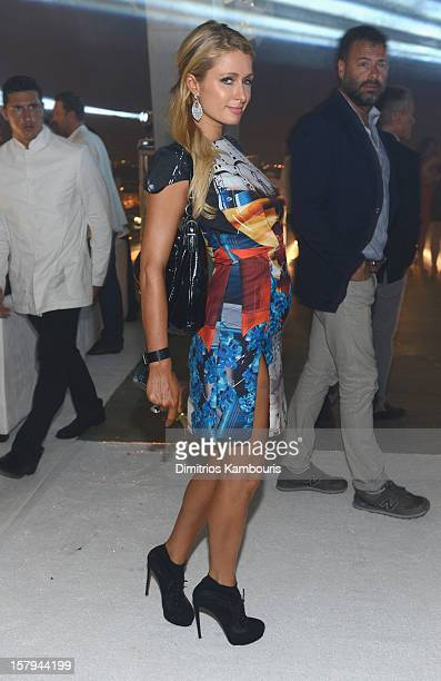 Paris Hilton attends a party as Moncler Celebrates Its 60th Anniversary At Art Basel Miami Beach on December 7 2012 in Miami Beach Florida