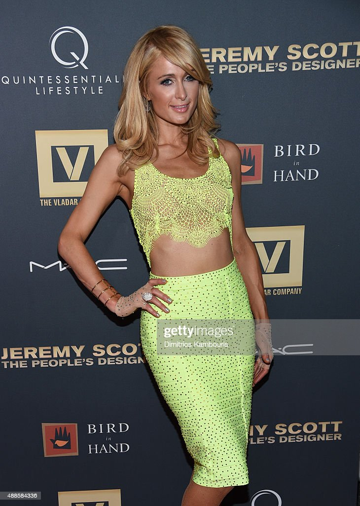 <a gi-track='captionPersonalityLinkClicked' href=/galleries/search?phrase=Paris+Hilton&family=editorial&specificpeople=171761 ng-click='$event.stopPropagation()'>Paris Hilton</a> attends 'Jeremy Scott: The People's Designer' New York Premiere at The Paris Theatre on September 15, 2015 in New York City.