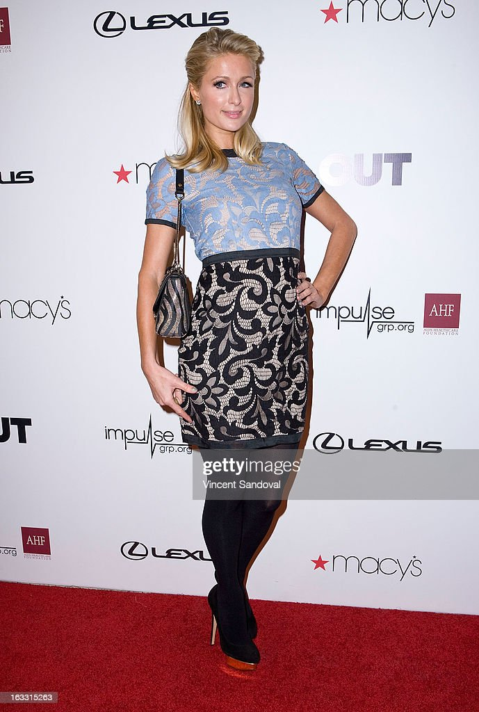Paris Hilton attends OUT magazines celebration of LA fashion week with OUT fashion benefiting the AIDS Healthcare Foundation at Pacific Design Center on March 7, 2013 in West Hollywood, California.