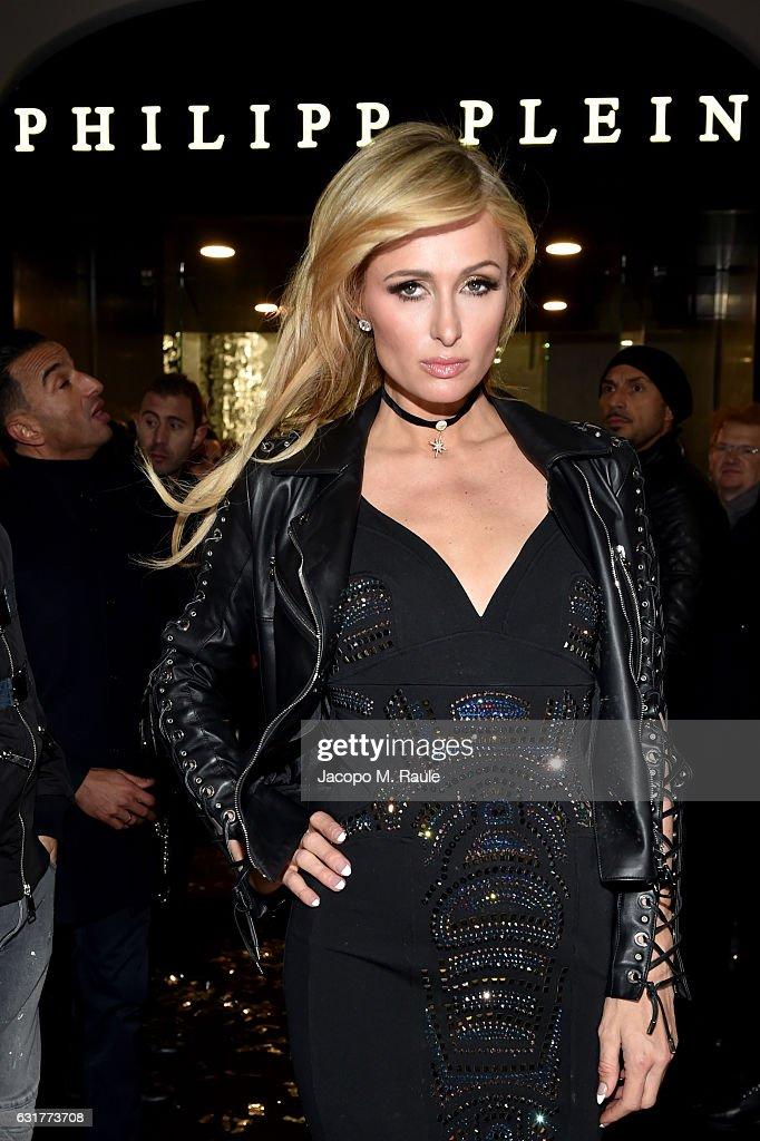 Paris Hilton attends Philipp Plein Boutique Opening during Milan Men's Fashion Week Fall/Winter 2017/18 on January 15, 2017 in Milan, Italy.