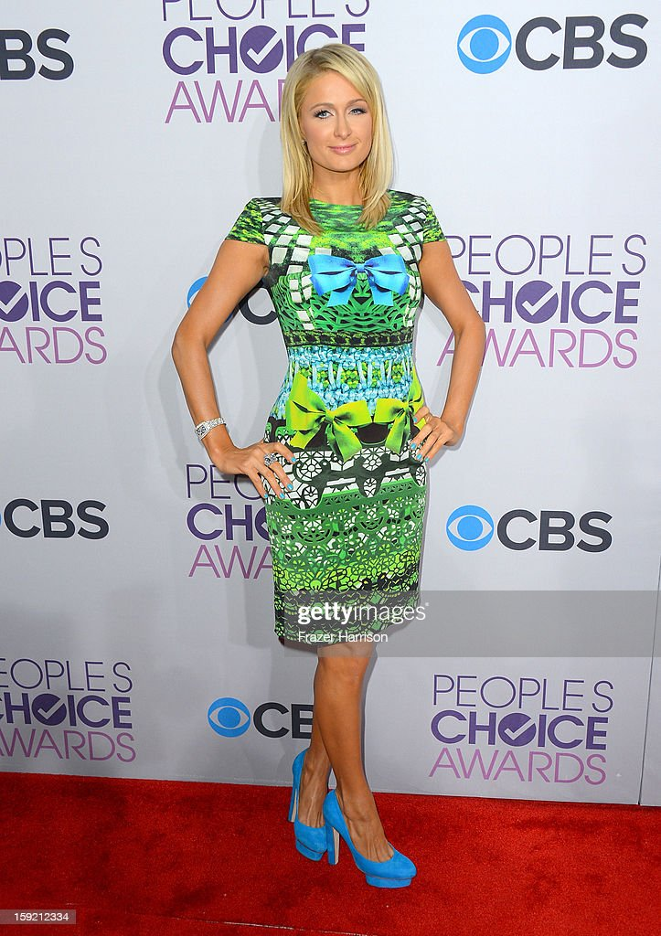 <a gi-track='captionPersonalityLinkClicked' href=/galleries/search?phrase=Paris+Hilton&family=editorial&specificpeople=171761 ng-click='$event.stopPropagation()'>Paris Hilton</a> attends the 39th Annual People's Choice Awards at Nokia Theatre L.A. Live on January 9, 2013 in Los Angeles, California.