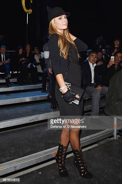 Paris Hilton attends the Dsquared2 show during the Milan Menswear Fashion Week Fall Winter 2015/2016 on January 16 2015 in Milan Italy