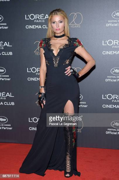 Paris Hilton attends the Gala 20th Birthday Of L'Oreal In Cannes during the 70th annual Cannes Film Festival at Martinez Hotel on May 24 2017 in...