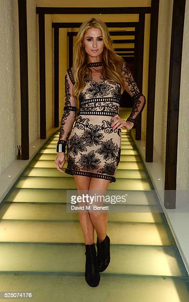 Paris Hilton attends the launch of Restaurant Ours in Kensington on April 27 2016 in London England