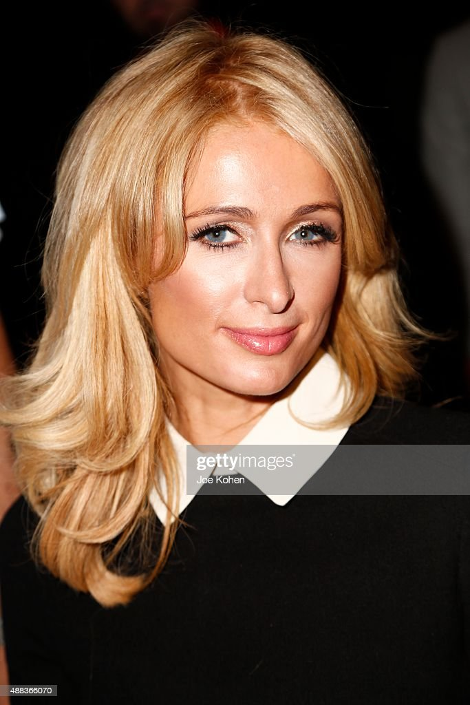Paris Hilton attends the Michael Costello show during Spring 2016 New York Fashion Week at Pier 59 on September 15 2015 in New York City