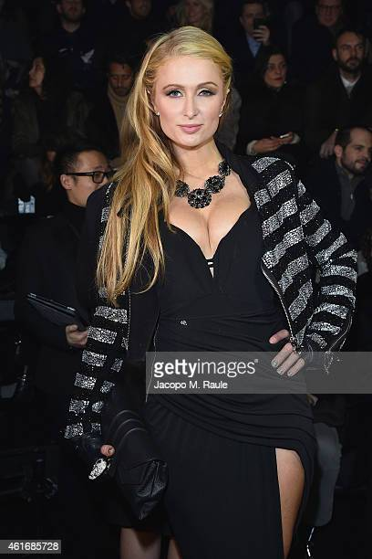 Paris Hilton attends the Philipp Plein Show during the Milan Menswear Fashion Week Fall Winter 2015/2016 on January 17 2015 in Milan Italy
