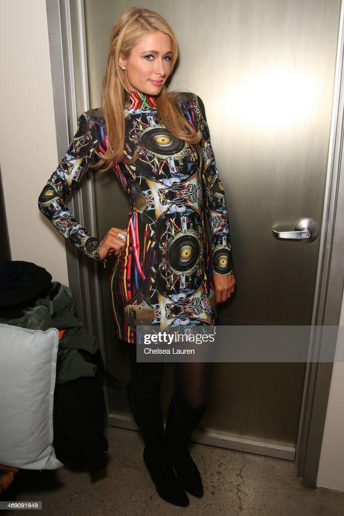 Paris Hilton backstage at the The Blonds fashion show during MADE Fashion Week Fall 2014 at Milk Studios on February 12, 2014 in New York City.