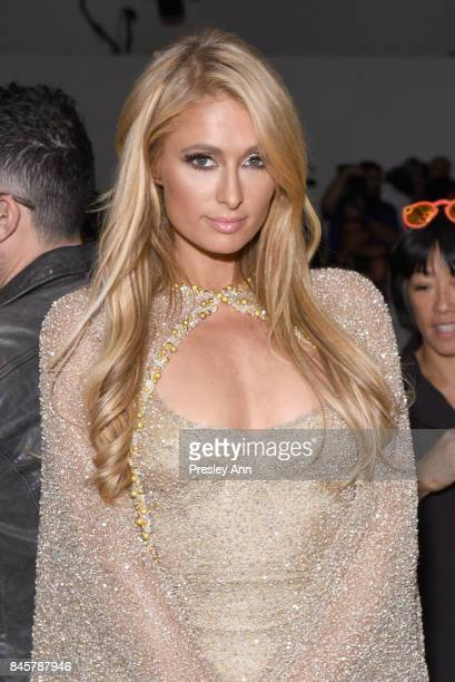 Paris Hilton backstage for Lanyu fashion show during New York Fashion Week The Shows at Gallery 2 Skylight Clarkson Sq on September 11 2017 in New...