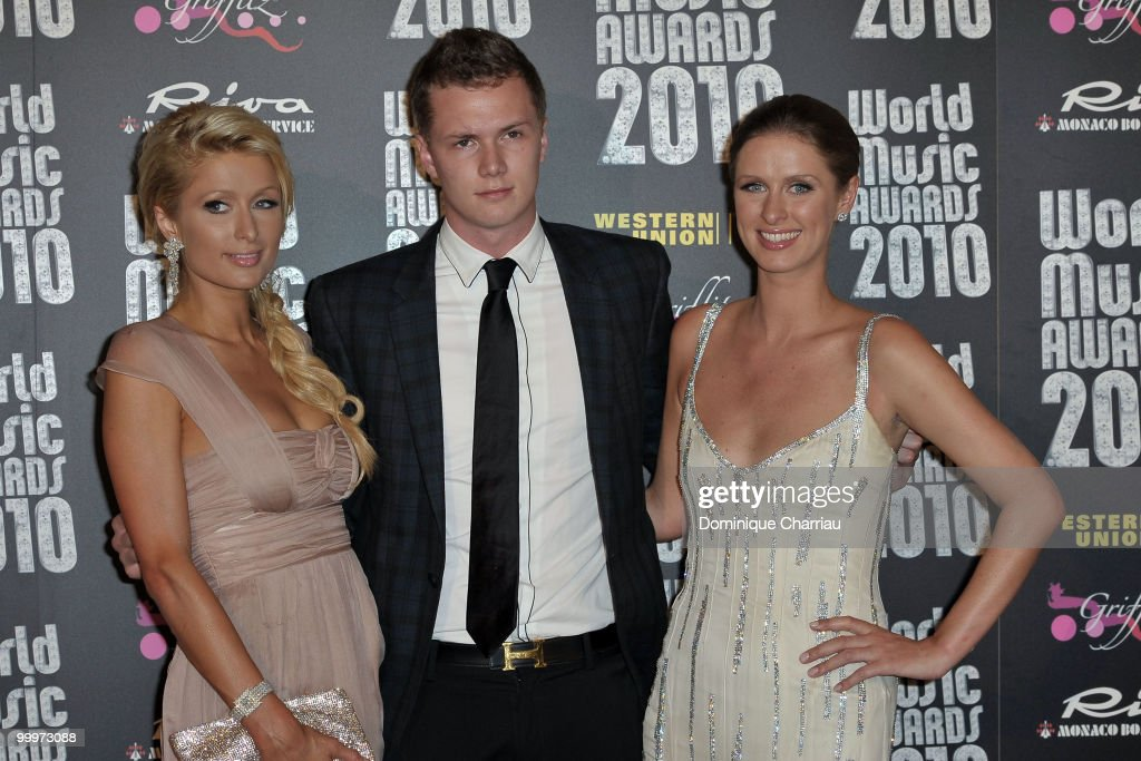 Paris Hilton, Barron Nicholas Hilton and Nicky Hilton attend the World Music Awards 2010 at the Sporting Club on May 18, 2010 in Monte Carlo, Monaco.