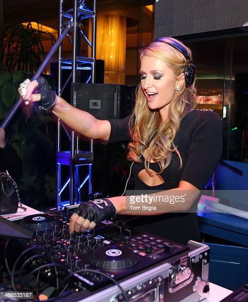 Paris Hilton DJ's at The Pool After Dark at Harrah's Resort on Saturday February 1 2014 in Atlantic City New Jersey