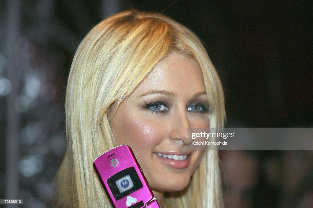 Paris Hilton during a mobile phone event at the Tsukiji Hongwanji Temple on December 22, 2006 in Tokyo, Japan.