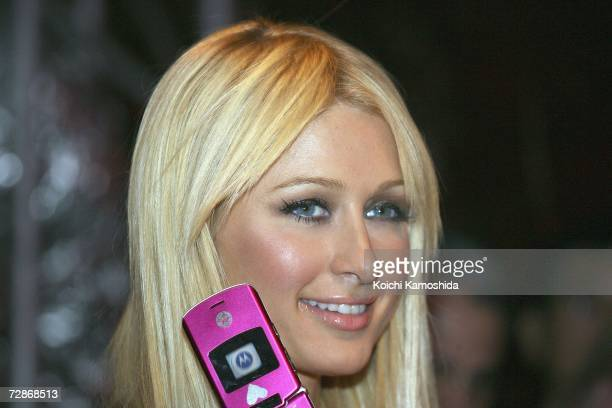 Paris Hilton during a mobile phone event at the Tsukiji Hongwanji Temple on December 22 2006 in Tokyo Japan