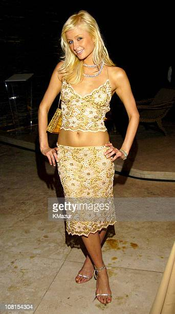 Paris Hilton during Sean P Diddy Comb's 50 Fabulous Dinner Party at Private Residence in Miami Florida United States