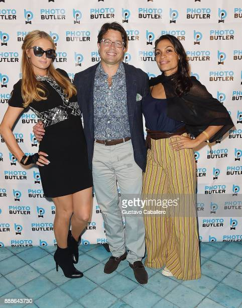 Paris Hilton Founder Chief Butler of Photo Butler Andy Goldfarb and Rosario Dawson attend Rosario Dawson Hosts The Launch Of Photo Butler At Art...