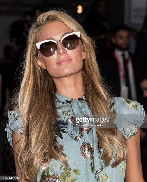 Paris Hilton is seen arriving at Alice Olivia By Stacey Bendet fashion show during September 2017 New York Fashion Week The Shows at Gallery 2...