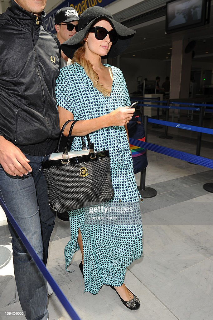 <a gi-track='captionPersonalityLinkClicked' href=/galleries/search?phrase=Paris+Hilton&family=editorial&specificpeople=171761 ng-click='$event.stopPropagation()'>Paris Hilton</a> is seen arriving at Nice airport during The 66th Annual Cannes Film Festival>> on May 24, 2013 in Nice, France.