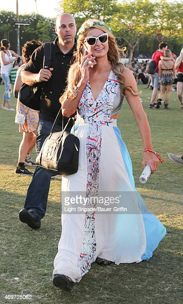 Paris Hilton is seen at Coachella Valley Music and Arts Festival at The Empire Polo Club on April 12 2015 in Indio California