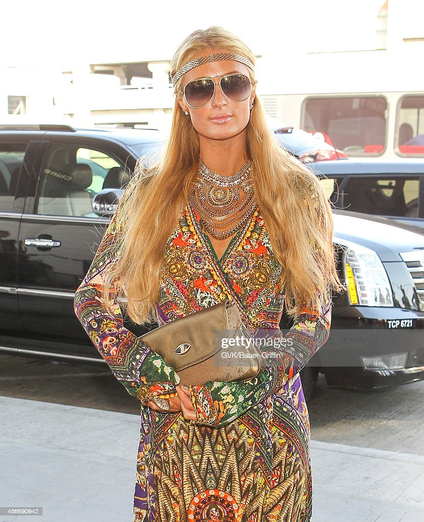 Paris Hilton is seen at LAX on October 08 2014 in Los Angeles California