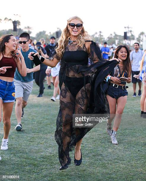 Paris Hilton is seen at The Coachella Valley Music and Arts Festival on April 15 2016 in Los Angeles California
