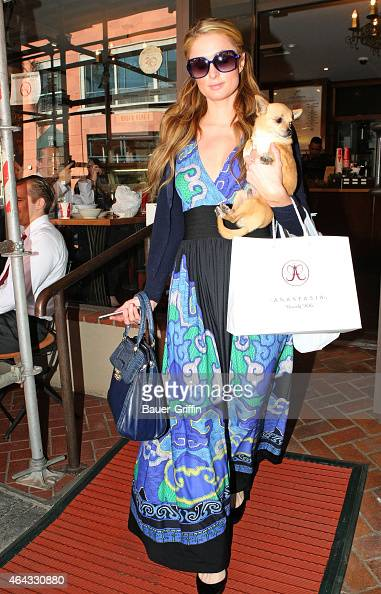 Paris Hilton is seen on February 24 2015 in Los Angeles California